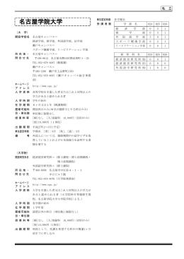 私 立 (大 学) 開設学部名 名古屋キャンパス= 経済学部,商学部,外国
