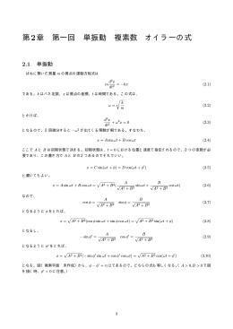第2章 第一回 単振動 複素数 オイラーの式
