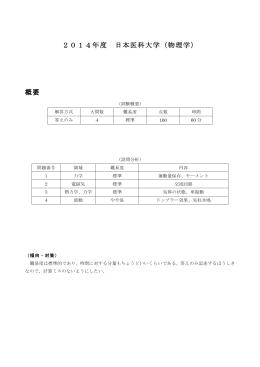 2014年度 日本医科大学(物理学) 概要