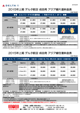 2015年上期 デルタ航空 成田発 アジア線往復料金表 2015年