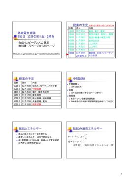 基礎電気理論 8回目 12月03日(金) 2時限 授業の予定 授業の予定