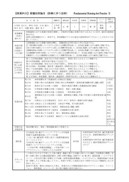 【授業科目】看護技術論Ⅱ(診療に伴う技術) Fundamental Nursing Art