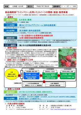 新品種果実「ワインベリー」を用いたスイーツの開発・製造・販売事業(PDF