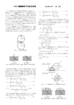 ヘルツ接触条件下の応力分布