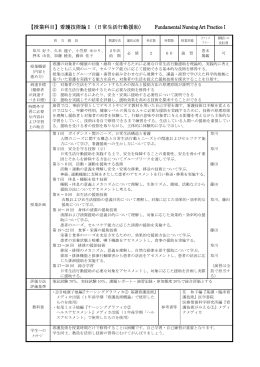 【授業科目】看護技術論Ⅰ(日常生活行動援助) Fundamental Nursing