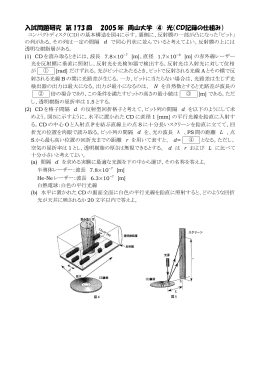 入試問題研究 第 173 回 2005 年 岡山大学 ④ 光(CD記録の仕組み)