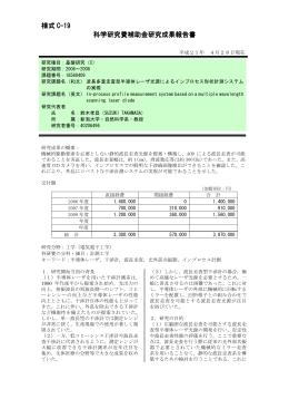 様式 C-19 科学研究費補助金研 科学研究費補助金研究成果報告書