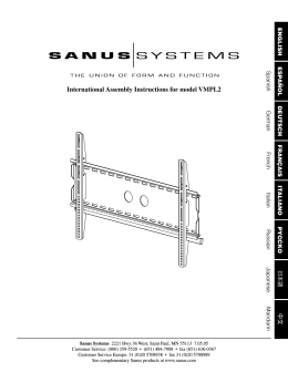 International Assembly Instructions for model VMPL2