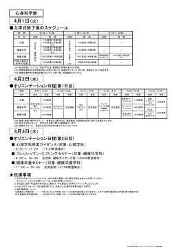 入学式終了後のスケジュール オリエンテーション日程(第1日目) 4月1日
