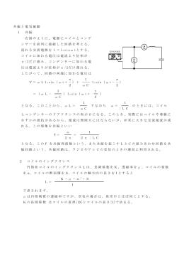 共振と電気振動 1 共振 右図のように、電源にコイルとコンデ ンサーを
