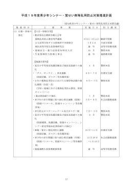 平成19年度青少年シンナー・覚せい剤等乱用防止対策推進計画