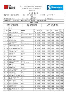 2014ITU世界シリーズ横浜大会エリート女子公式記録
