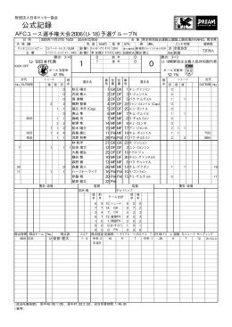 0 1 公式記録 - 日本サッカー協会