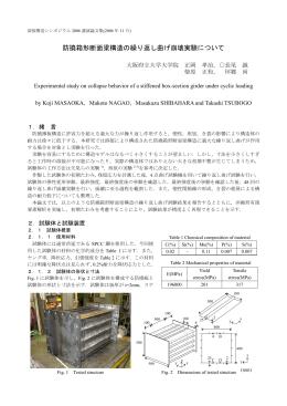 防撓箱形断面梁構造の繰り返し曲げ崩壊実験について