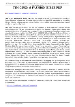 TIM GUNN S FASHION BIBLE PDF