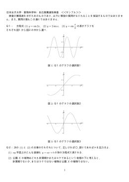 日本女子大学・数物科学科・自己推薦適性検査 <<サンプル>> 検査