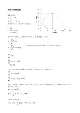 物体の放物運動(モデル式)