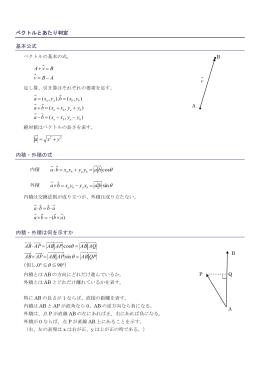 ベクトルとあたり判定 基本公式 ABv BvA - = = + yx a + = 内積・外積の式