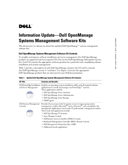 Information Update-Dell OpenManage Systems Management
