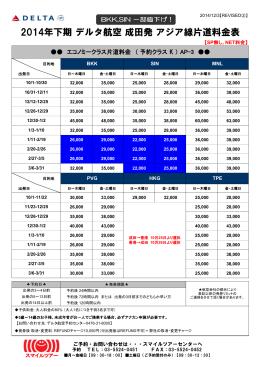 2014年下期 デルタ航空 成田発 アジア線片道料金表