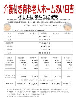 要介護の方のみの入居となります。H27.4から ¥115,116 ¥117,102