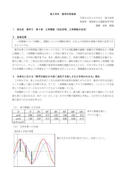 第2学年 数学科指導案 1 単元名 数学Ⅱ 第4章 三角関数(加法定理