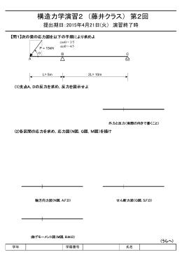 構造力学演習2 (藤井クラス) 第2回
