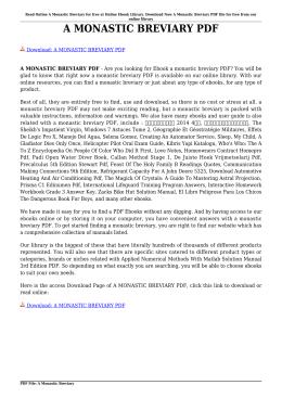 A MONASTIC BREVIARY PDF