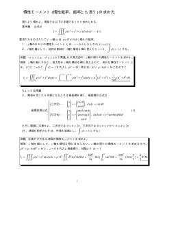 慣性モーメント (慣性能率、能率とも言う)の求め方