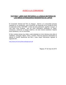 AVISO A LA COMUNIDAD - Consulado General del Peru en Nagoya