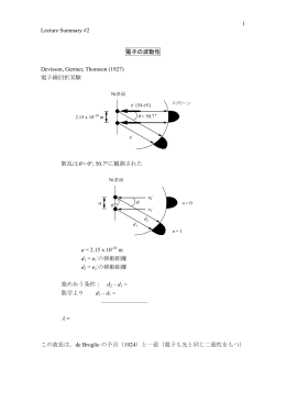 Lecture Summary #2 1 電子の波動性 Devisson, Germer, Thomson
