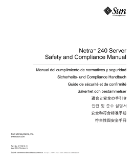 Netra 240 Server Safety and Compliance Manual
