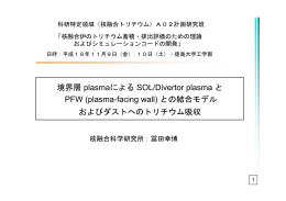 境界層 plasmaによる SOL/Divertor plasma と