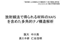 2. 放射線法で得られる材料のXAFSを含めた多角的ナノ構造解析 (pdf