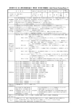 【授業科目】成人慢性期援助論Ⅱ(慢性期・終末期の看護援助)