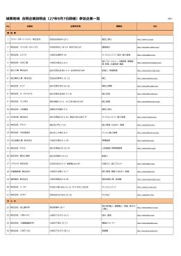 城南地域 合同企業説明会(27年9月7日開催)参加企業一覧