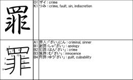 O1 ザイ : crime K1 つみ : crime, fault, sin, indiscretion A1 罪人:「ざい