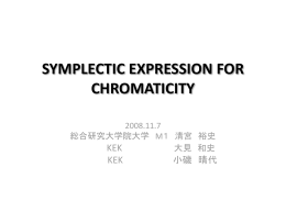 SYMPLECTIC EXPRESSION FOR CHROMATICITY