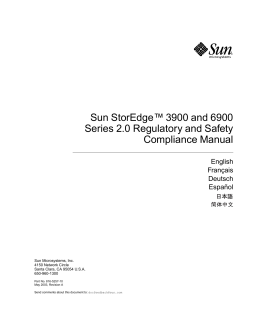 Sun StorEdge 3900 and 6900 Series 2.0 Regulatory and Safety