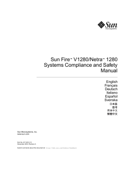 Sun Fire V1280/Netra 1280 Systems Compliance and Safety Manual