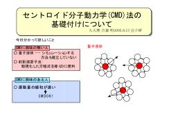 セントロイド分子動力学(CMD)法の 基礎付けについて