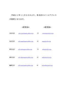 平成21年11月25日より、各支店のメールアドレス が変更となります
