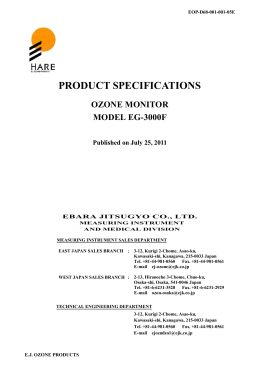 PRODUCT SPECIFICATIONS OZONE MONITOR MODEL EG