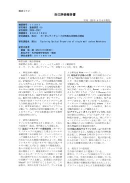 自己評価報告書 - KAKEN - 科学研究費助成事業データベース