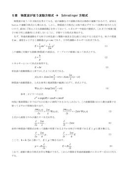 5章 物質波が従う波動方程式 → Schrodinger 方程式