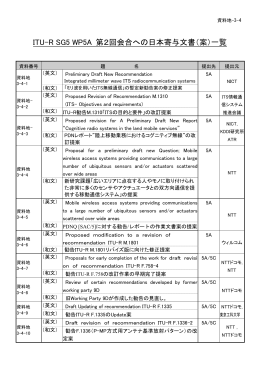 ITU-R SG5 WP5A 第2回会合への日本寄与文書(案)一覧
