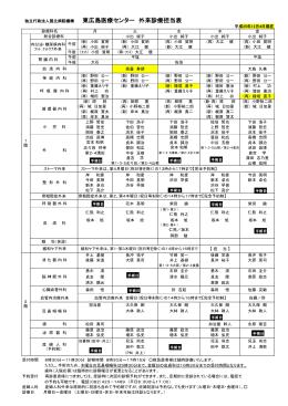 独立行政法人国立病院機構 東広島医療センター 外来診療担当表