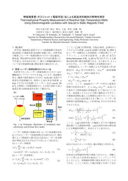 静磁場重畳(ガスジェット+電磁浮遊)法による高温活性融体の熱物性