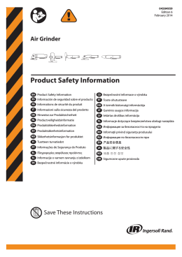Product Safety Information, Air Grinder
