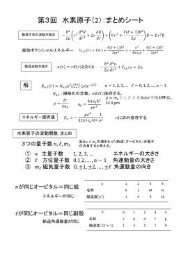 第3回 水素原子(2):まとめシート [PDF]